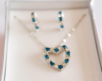 Crystal Blue Heart Pendant Necklace & Earring Set