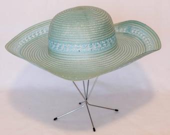 Vintage Blue Wide Brim Sun Hat with Lace Detail