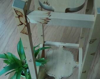 Flower stand, wooden, hand made