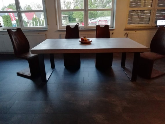 Dining Table Concrete Solid Wood Dining Room Concrete Look Etsy