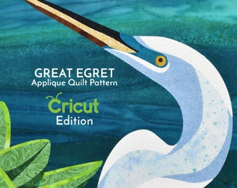 Great Egret Digital Pattern by Kestrel Michaud - DIY Quilt, Wall-Hanging, Applique, No Stitching Required - CRICUT EDITION