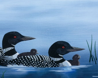 Family of Loons Wall Decal, Wall Sticker by Kestrel Michaud