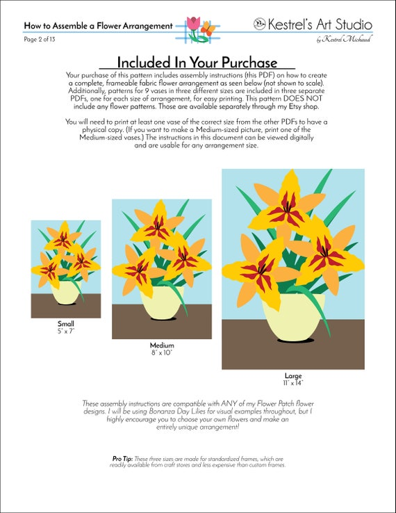 How To Make A Fabric Flower Arrangement Flower Patch Digital Etsy