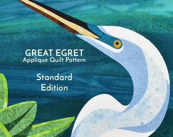 Great Egret Digital Pattern by Kestrel Michaud - DIY Quilt, Wall-Hanging, Applique, No Stitching Required - STANDARD EDITION