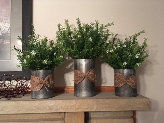 Farmhouse Centerpiece Farmhouse Decorgalvanized Vases With Etsy