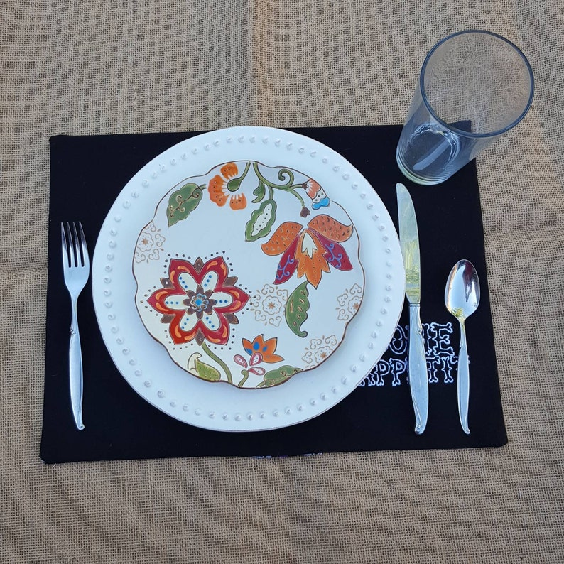 Purple Skeleton Placemats top hat reversible Bone Appetit Halloween 2 hand embroidered -