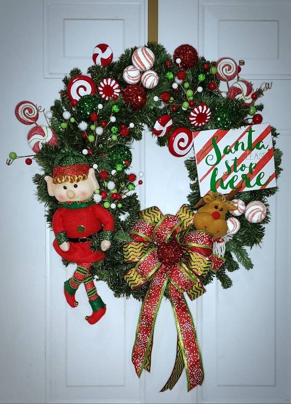 Elf Christmas Wreath Santa Wreath Santa Decor Elf Decor Etsy