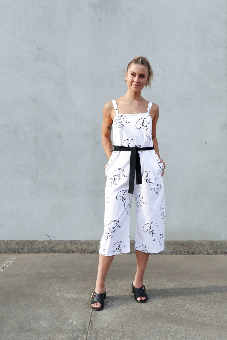 10063d0db2c Black Cat Jumpsuit 100% Cotton Romper Animal Print 3 4