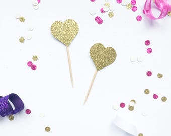 Gold Glitter Heart Cupcake Toppers