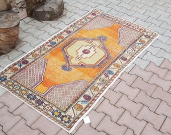 Orange And Blue Rug,3'2x5'6 feet,100x172cm Turkish Rug,Oushak Rug,turkish rug,Knot Rug,Pile Rug,,Bohemian Rug,Anatolian Vintage Rug,Turkish,
