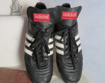 8ede66c9eaec8 Adidas 1974s Weltmeister Beckenbauer Soccer Shoes Black White 3 Stripes  Leather Shoes Sz. UK 11,5 US 12,5 EU 47 Mens Lace up Boots