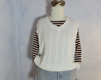 a7f58ec8e9c3 White ADIDAS Equipment Cable Knit Sweater Sleeveless Vest Gilet Sz XL 100%  Cotton Oversize Chunky Golf Tennis Zopfmuster Pullunder Männer