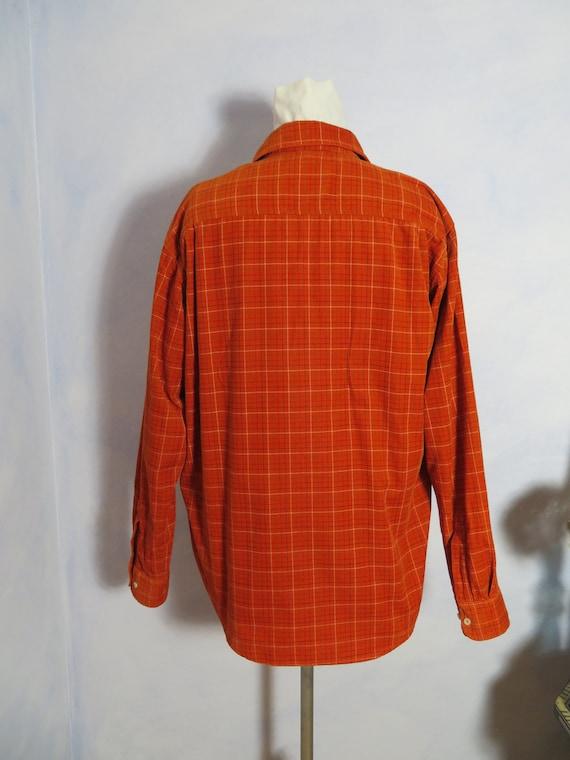 Slouchy Boho 80s Baby Corduroy Shirt Orange Checked Winter Cotton Shirt Jacket Mc Neal Men Sz. L M S Woman XL L Berlin Streetstyle