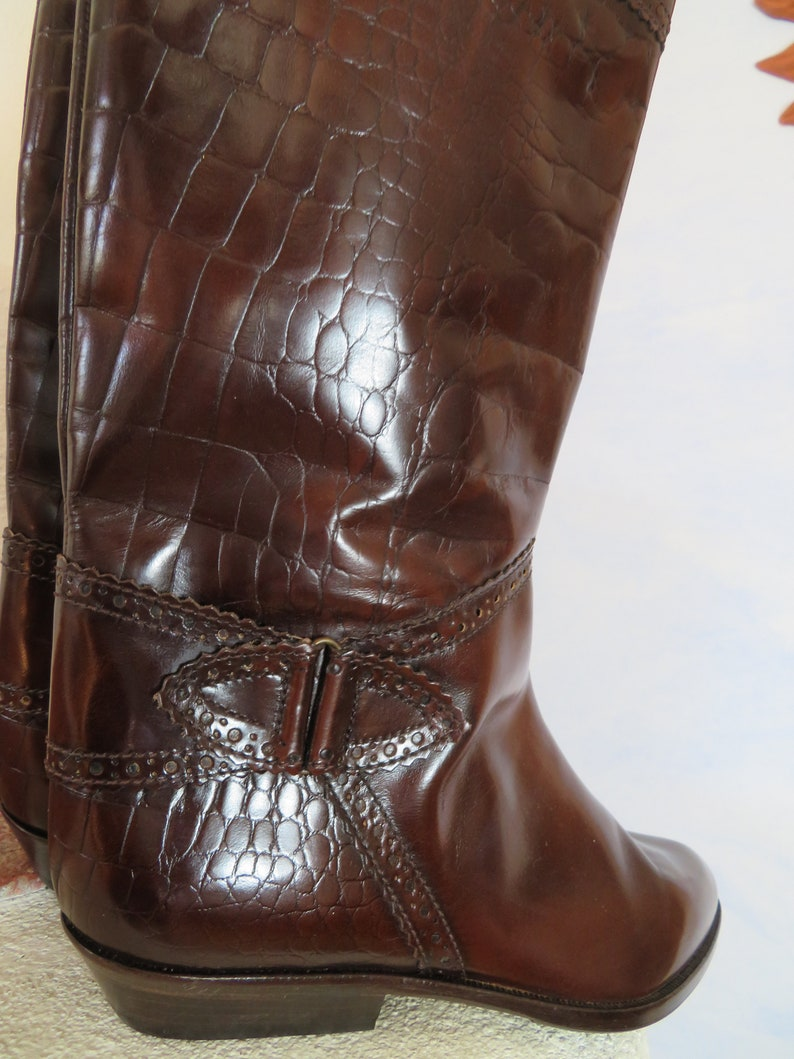 416cd7a9e95 Boho Deadstock BALLY Rider Boots 80s kniehoch Mid Tan All Leather Women's  Budapest Kroko EU 38 Uk 5 Us 7 Bally Switzerland Made in Italy