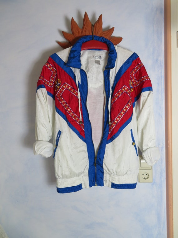 Vintage Lavon Embroidery White Blue Red Bomber Jacket Sailor Jacket Windbreaker S M L Chunky Nylon Anorak Oldschool Ugly Berlin Streetstyle