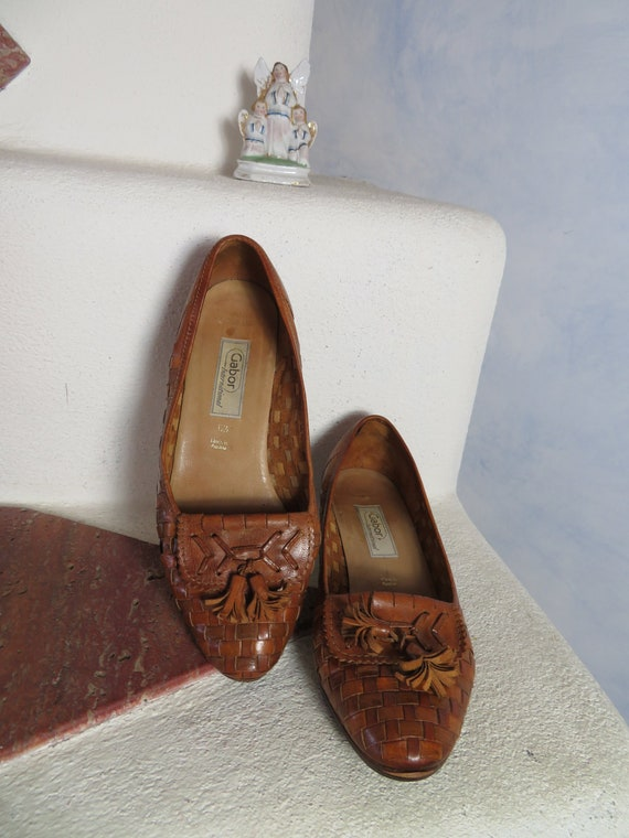 Schuhe*Vintage*flats*Gabor*blau*leder*5.5*38,5 | Schuhe