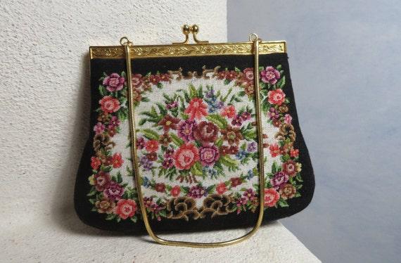 Dreamy Petit Point 1950's French Handbag Tapestry