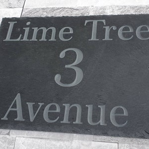 Deep Engraved Thick Cut Natural Slate Any House Name And Number Hand Painted Customized Slate House Sign 250mm x 170mm