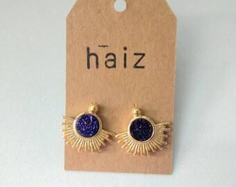 Purple Druse Earrings