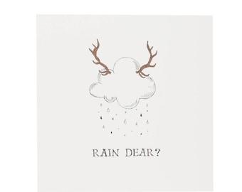 Rain Dear Christmas Card • Reindeer • Cloud • Funny Christmas Card •  Christmas Card •  Christmas