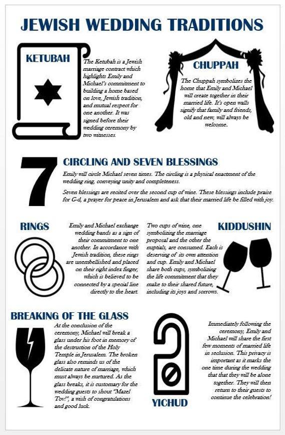 personalized jewish wedding program info graphic etsy