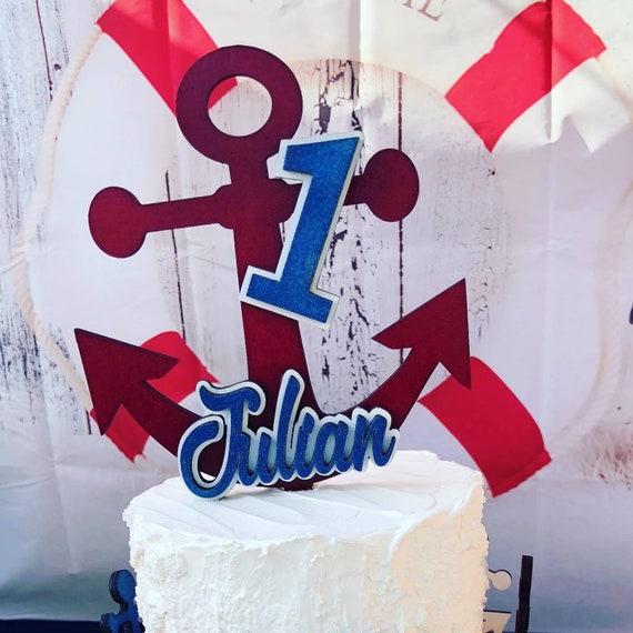 Stupendous Nautical Themed Cake Topper Etsy Funny Birthday Cards Online Inifofree Goldxyz