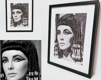Portrait of Elizabeth Taylor playing Cleopatra - Mosaic art  tile wall hanging black and white