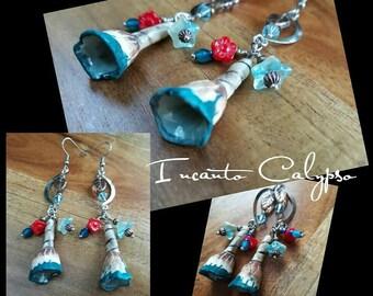 Lunar Tribal Flowers (Earrings) OOAK