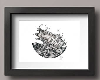 Crashing Wave Print - Pen and Ink - Art Print - Waves - Ocean - Abstract Art - Black and White Art Print
