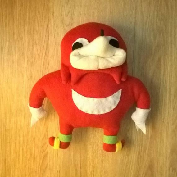 Ugandan Knuckles Plush Toy Handmade Vrchat Sonic Meme De Wey Etsy