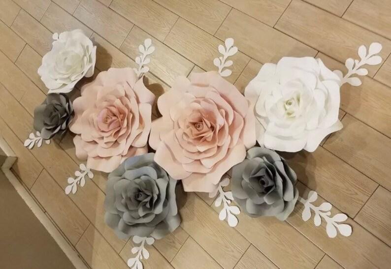 White Grey 7 Paper Wall Flowers Nursey Decor Pink Flowers