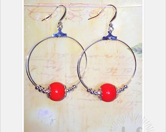 orange earrings, hoops, silver plated, dangle earrings