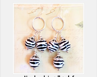 black and white earrings, zebra earrings, dangle earrings, hoops, silver plated