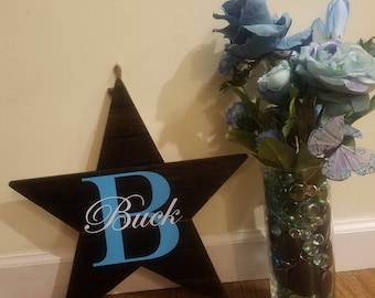 """8"""" Wooden Star Last Name Sign"""