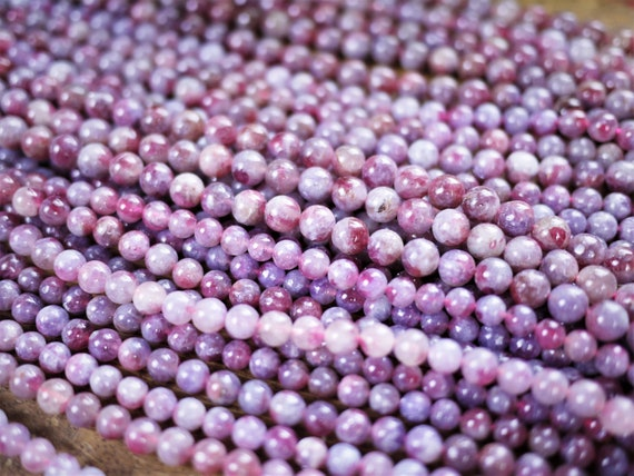 5mm 6mm 7mm 8mm Drilled Jewelry Supply Red Rubellite Anxiety Pink Tourmaline Round Beads Healing Crystal Stone DIY Bracelet Necklace