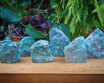 Raw Sparkling Fuchsite Mountain, Slab Standing Blue Green Small Sparkly Shiny Healing Crystal Energy Rejuvenate Renewal Vitality Altar Piece