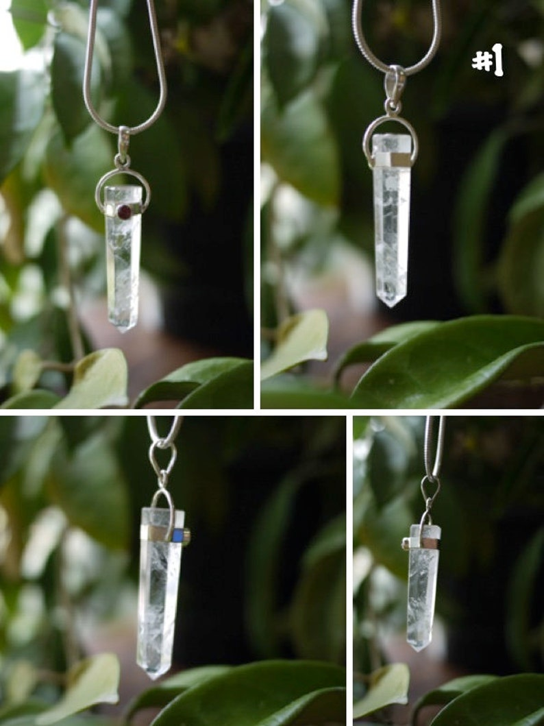 Clear Quartz Point Pendant w Pink Tourmaline Accent in Sterling Silver Healing Jewelry for Crown /& Heart Chakra Quartz Generator Necklace