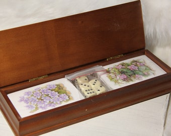 wooden container DICE BOX flip top opening vintage item 5.75 x 1.5 four wood hollow dice joined together to form a box