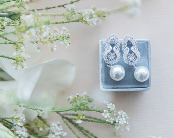 Cubic Zirconia and Pearl Earrings Silver, Bridal Earrings, Wedding Earrings, Bridal Jewelry, Wedding Jewelry, Pearl Wedding Earrings