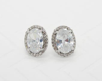 Zinnia Cubic Zirconia Earrings - Silver CZ Stud Earrings, Crystal Earrings, Bridesmaid Earrings, Bridal Earrings, Wedding Earrings, Jewelry