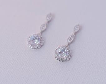 Lily Cubic Zirconia Earrings - Silver, Drop Earrings, CZ Bridal earrings, Wedding Jewellery, Bridal Jewelry, Crystal Earrings, Dainty