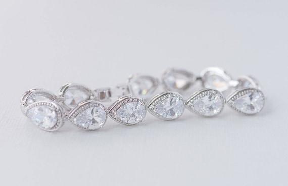 AAA Cubic Zirconia Wedding Bracelet Fleur Cubic Zirconia Bracelet Rodium and CZ Bracelet Art Deco Bracelet CZ Bridal Bracelet