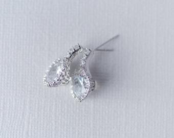 Cristal Cubic Zirconia Earrings, Wedding CZ Earrings, Silver Wedding Earrings, Drop Earrings, Bridal Jewelry, Wedding Jewellery, Silver