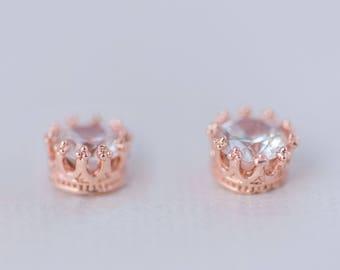 Round Cut Cubic Zirconia Earrings - Rose Gold CZ Earrings, Cubic Zirconia Bridal Earrings, Dainty Stud Earrings, Bridesmaid Earrings