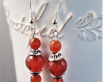 Lucky Energy Stone for Women and Handmade Jewelry Gift for Her Stunning Beaded Jewelry Carnelian Natural Gemstone 3 bead  Dangle Earrings
