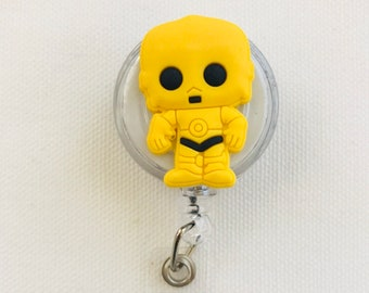 C3PO / Star Wars / Made With Silicone / ID name badge / RN badge holder / Office