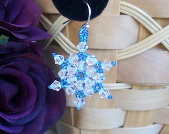 FROZEN Snowflake Swarovski Crystal Dangle Earrings 008 - Hand Stitched - Winter Blues - Clear AB Rainbow Crystals and Light Blue Beads