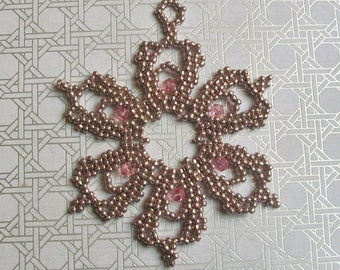 Christmas Holiday FROZEN Flower Snowflake Ornament 170 - Hand Stitched - Swarovski Crystals Glass Beads - Rose Pink with Pink Crystals