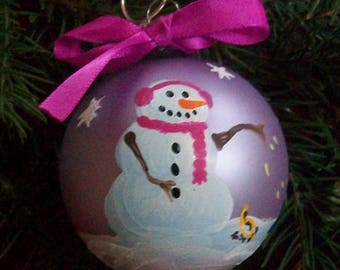 Hand Painted Christmas Tree Ornament - SNOWMAN Feeding Birds on Lavender OOAK - Scarf and Earmuffs - Penguin Waving and Christmas Tree SM002