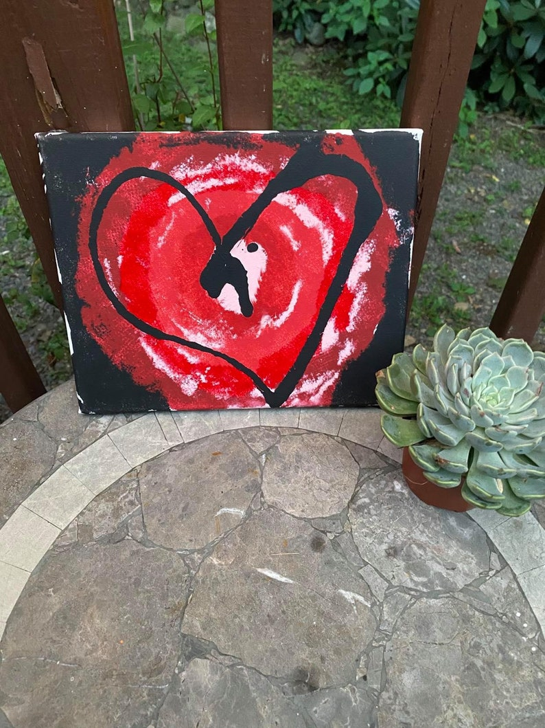 Red White and Black Bloody Valentine Collection Splatter Canvas set 8x10 add on canvas